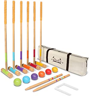 "GoSports Six Player Croquet Set for Adults & Kids - Modern Wood Design with Deluxe (35"") and Standard (28"") Options"