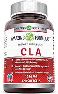 Amazing Formulas CLA 1250 Mg (Non-GMO) Supplement - Supports Healthy Weight Management - Promotes Lean Mass Muscles - Promotes Metabolism & Immune Health. (120 Softgels)
