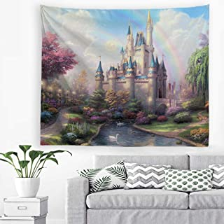 Baccessor Fantasy Castle Tapestry Colorful Rainbow Forest Princess Lake White Swan Fairy Tale World Wall Hanging Tapestry for Girls' Bedroom, 60