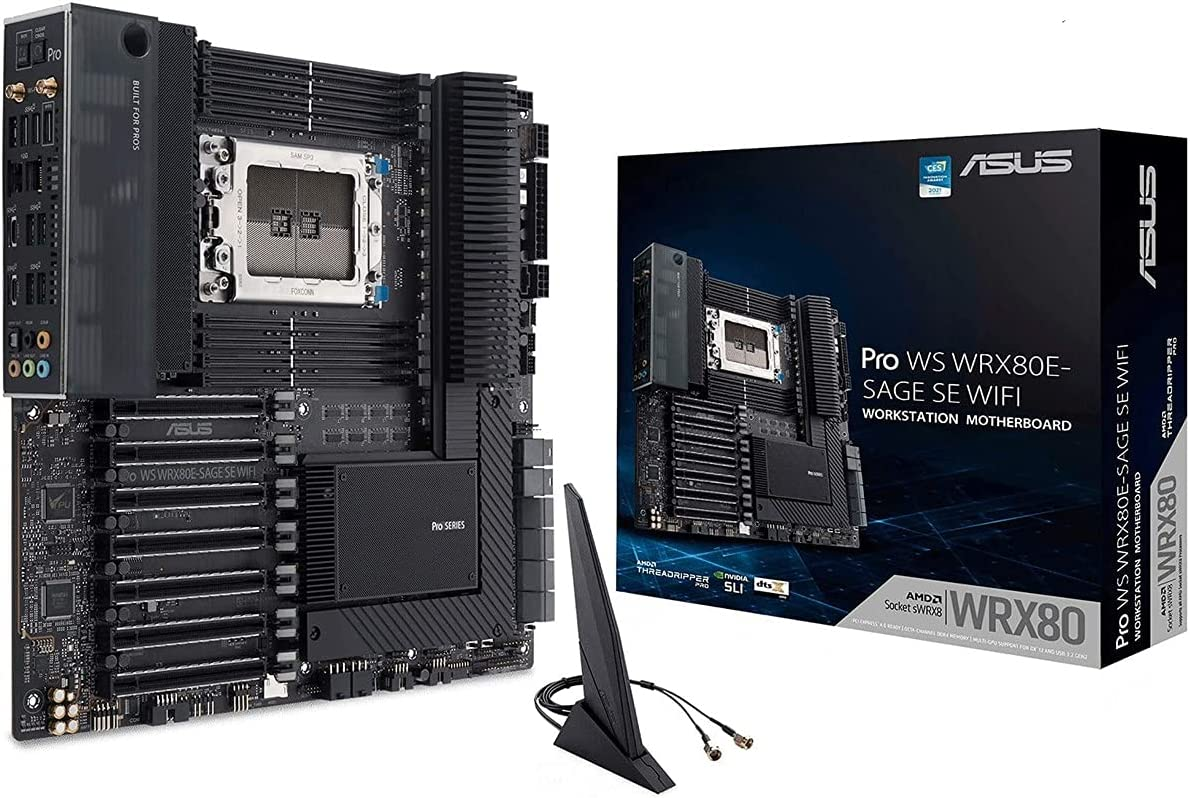 ASUS Pro WS WRX80E-SAGE SE WiFi - Placa Base ATX Workstation (AMD WRX80 Ryzen Threadripper Pro, Dos LAN 10 G, Siete PCIe 4.0 x16, Tres M.2 PCIe 4.0, ASMB9-iKVM, Dos U.2, 16 etapas de alimentación)