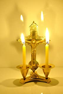 Hashcart Jesus Cross Candle Stand,Candle Stick Holder Made of Brass for Christmas (6 inch)