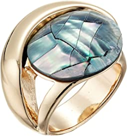 Blue Shell Stone Sculptural Ring