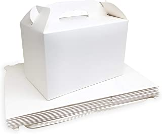 Monka White Treat Boxes 2 Dozens White Boxes for Favor 8.5X5X5.5 Inches Large Handle Favor Boxes, Kids Party Favor Box, Party Box, Birthday Goodies Box, No Assembly Needed