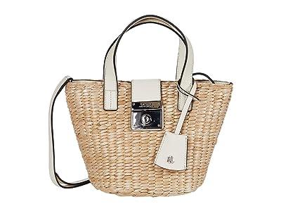 LAUREN Ralph Lauren Heritage Lock Structure Starw Reese 17 Tote Mini (Natural/Vanilla) Handbags