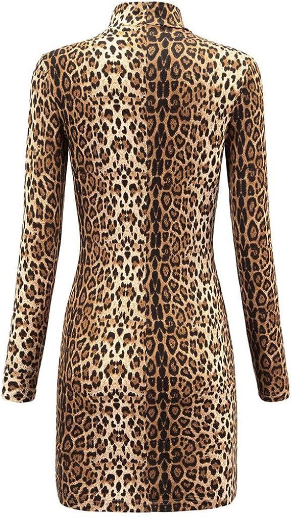 Kaideny Women Turtleneck Long Sleeve Leopard Snake Print Knitting Bodycon Dress Casual Club Party Slim Short Dress