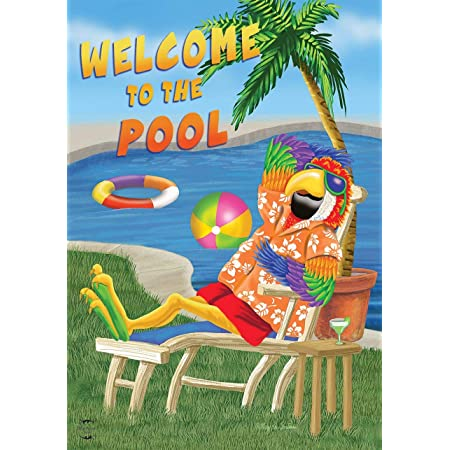 """Welcome To Our Pool Summer Garden Flag Nautical Floats 12.5/"""" x 18/"""" Briarwood"""