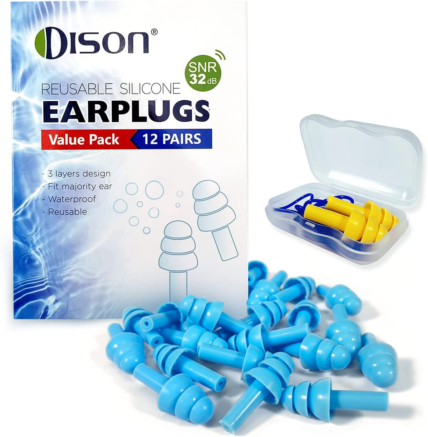 Our shop OFFers the best service 12Pair Silicone Ear Plugs 32dB Noise Waterp Reduction Earplugs Limited Special Price