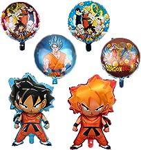 6 Pcs Dragon Ball Z Balloons,Birthday Celebration Foil Balloon Set,Double Side DBZ Super Saiyan Goku Gohan Character Party Decorations