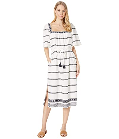 Tory Burch Swimwear Embroidered Midi Dress Cover-Up (New Ivory/Tory Navy) Women