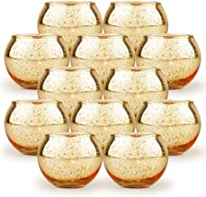 SHMILMH Round Gold Votive Candle Holders, Set of 12 Mercury Glass Tealight Candle Holders Bulk with Speckled for Table Cen...