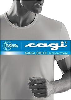 CAGI INTIMO UOMO T-SHIRT SCOLLO V MANICA CORTA COTONE PETTINATO 05305 NERO TG 5
