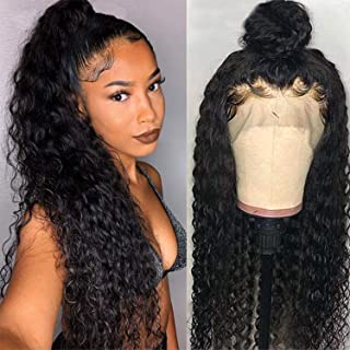 IWISH 360 Lace Frontal Wig Pre Plucked With Baby Hair Brazilian Deep Wave Curly 360 Closure Wig 150% Density Glueless 360 Lace Frontal Wig Human Hair (12, Deep Wave 360 Wig)