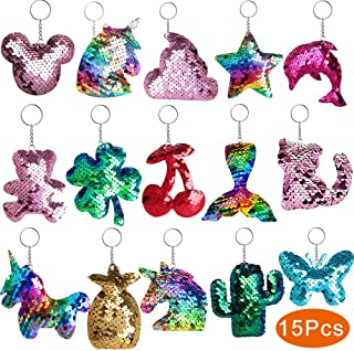 Outee Sequin Keychain 15 Pcs Flip Sequin Keychain for Mermaid Tail Clover Cat Animals Shape Christmas Gift Party Favors fo...
