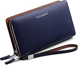Men Wallet Genuine Leather Long Clutch Money Bag Phone Purse Credit Card Holder Passport Organizer Business Checkbook Zipper Wallets WILLIAMPOLO (Blue)