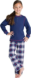 Big Girls' Flannel Classic Plaid Pajamas with Long-Sleeved Top