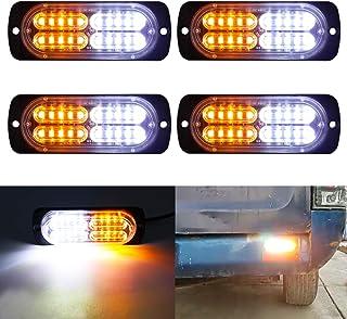 LivTee 12-24V Super Bright Emergency Warning Caution Hazard Construction Waterproof Amber Strobe Light Bar with 17 Different Flashing for Car Truck SUV Van - 4PCS (White Amber)