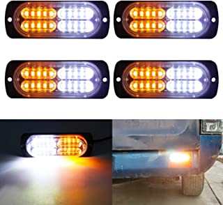 LivTee 12-24V Super Bright Emergency Warning Caution Hazard Construction Waterproof Amber Strobe Light Bar with 17 Different Flashing for Car Truck SUV Van - 4PCS (White Amber)