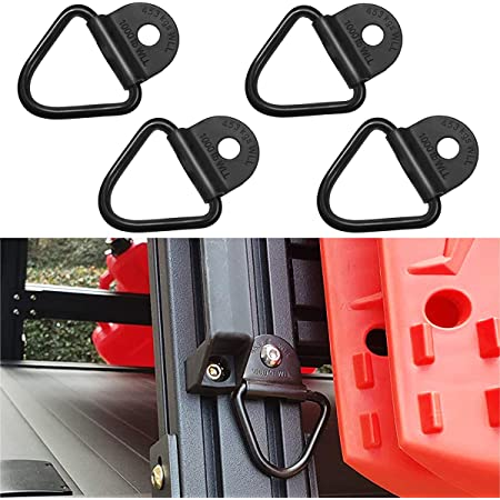 MOEBULB Cargo Tie-Down V-Ring Anchors Black Steel Bolton Trailer V-Ring Tie Down for Trailers Trucks and Warehouses Replacement for D-Ring Plastic Flush Mount Pan Fitting Tiedown 4-Pack