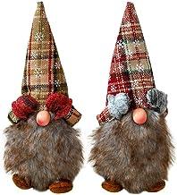 Estatueta de 2 peças Santa Gnome Enfeite de pé de Natal Papai Noel Gnome Figura de brinquedo de Natal para a festa de Nata...