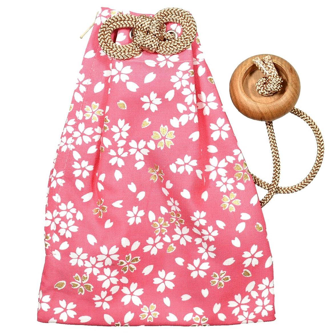 コークス階層震え祭すみたや 腰下げ巾着袋 小桜(ピンク色)