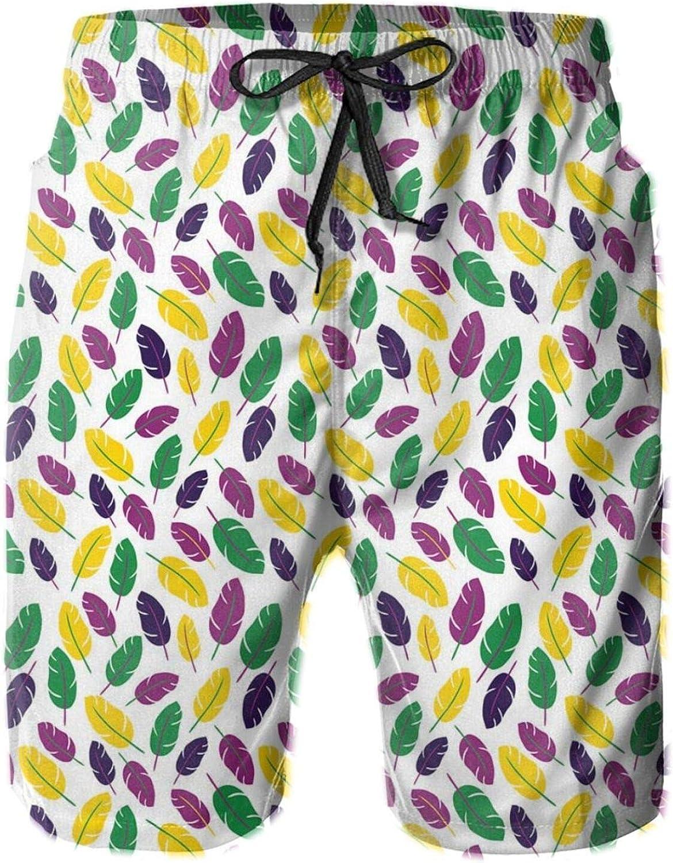 Vivid Feathers in The Colors of Mardi Gras Symbolic Printed Beach Shorts for Men Swim Trucks Mesh Lining,XXL