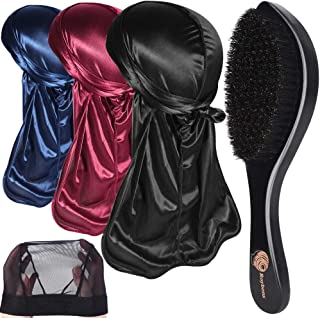 ROYBENS 3PCS Silky Durags Pack for Men Waves, Satin Doo Rag, Award 1 Wave Cap