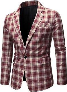 Lars Amadeus Men's Bussiness Casual Sport Coats Slim Fit One Button Check Plaid Formal Blazer