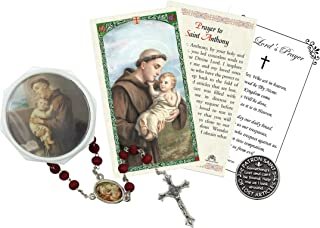 St Anthony Rosary - with Laminated Prayer Card, Saint Anthony of Padua Pocket Token Coin, The Lord's Prayer Card and Rosar...