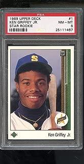 1989 Upper Deck #1 Ken Griffey Jr. Star Rookie RC PSA 8 Graded Baseball Card