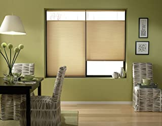 Windowsandgarden Cordless Top Down Bottom Up Cellular Honeycomb Shades, 35W x 53H, Leaf Gold, Sizes 18-38 Wide