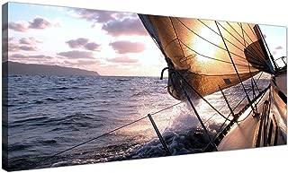 Panorámica Lienzo imágenes de un barco de vela para su oficina–tamaño grande mar azul decorativo–1096–Wallfillers®