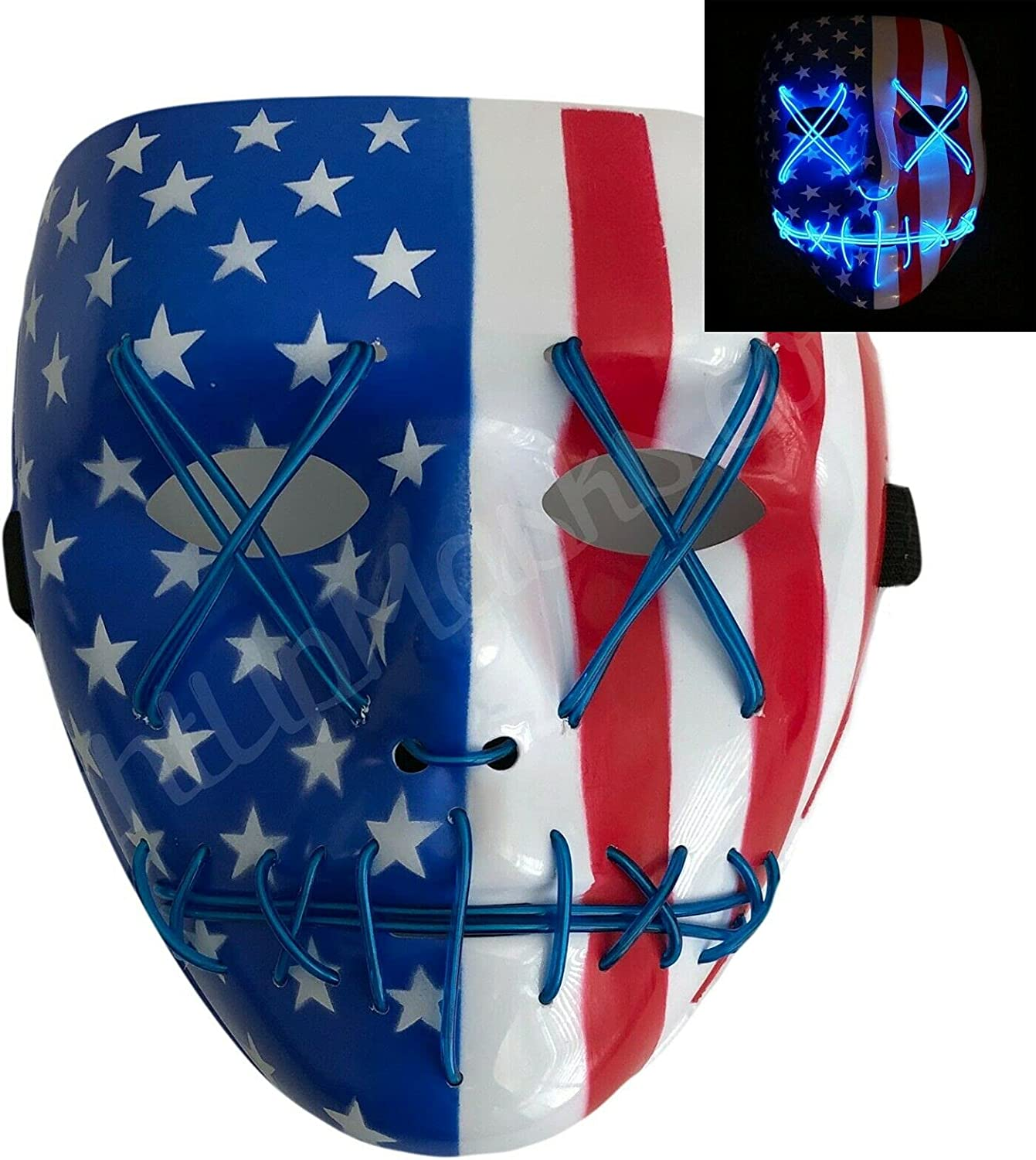 Blue Halloween Popular brand in the world Light Large special price Up Mask American Stitched Fe Flag LED Purge