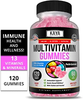 Kaya Naturals Adult Multi Vitamin Gummy, 120 Count, Biotin, Vitamin A, C & E, Including Zinc &Vitamin B-12, Folic Acid, St...