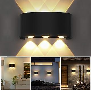 OUSFOT Aplique Pared Interior Lámpara de Pared IP54 Impermeable, Blanco Cálido 6000K Ideal para Salón Pasillo Escalera Dormitorio Baño (Negro)