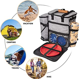 Primitive Weekend Travel Bag for Dogs and Pet Travel Organizer Includes 1 Dog Bag, 2 Silicon Collapsible Dog Bowl, 1 Dog Frisbee, 1 Soft Blanket, and 1 Pet Food Storage Container.