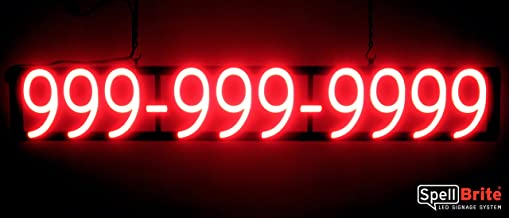 SpellBrite Ultra-Bright 10 Digit Phone Number Sign Neon-LED Sign (Neon Look, LED Performance)