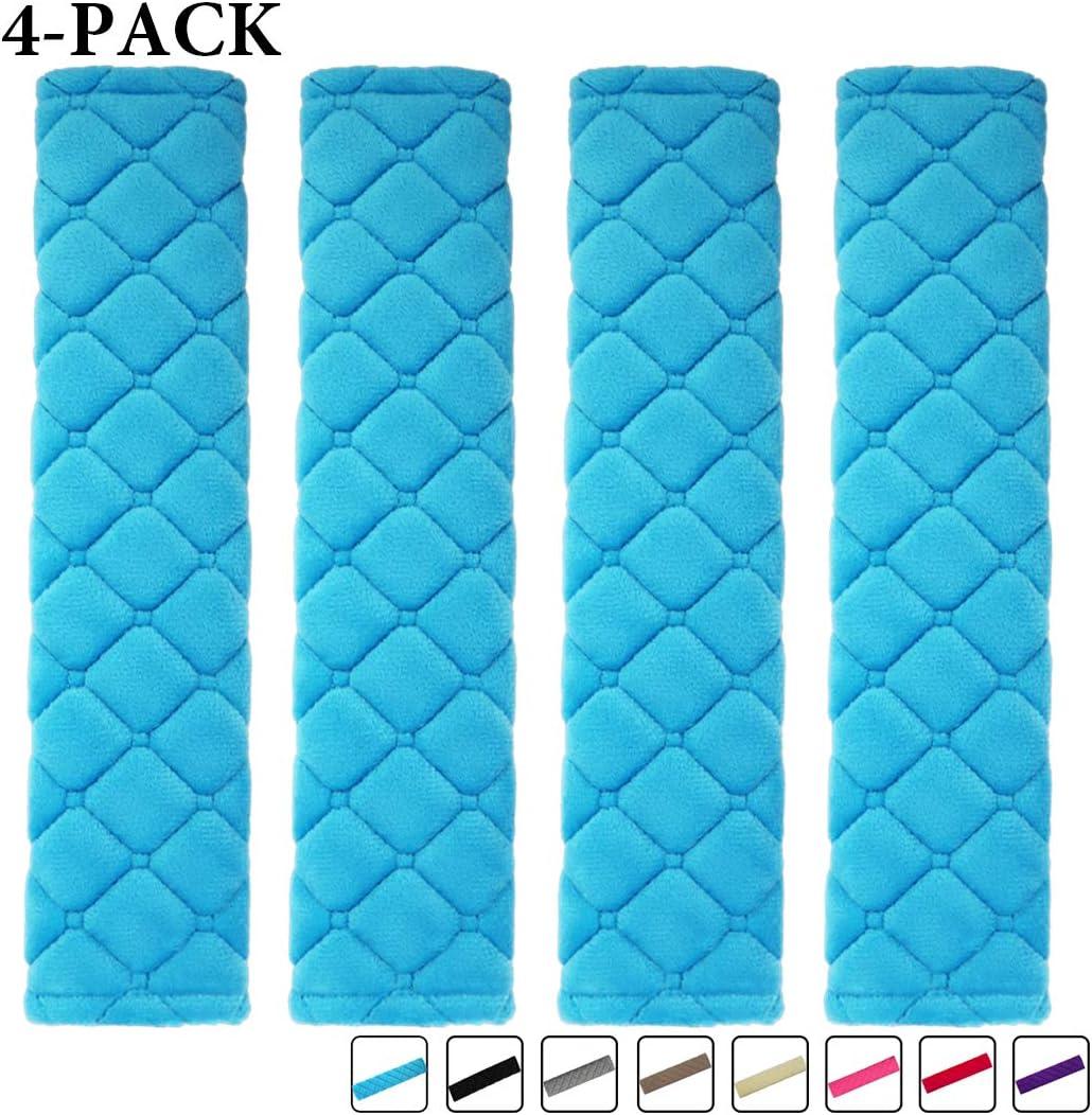 MIRKOO Car Seat Belt Cover Pad, 4-Pack Soft Car Safety Seat Belt Strap Shoulder Pad for Adults and Children, Suitable for Car Seat Belt, Backpack, Shoulder Bag, Laptop Computer Bag(4-Blue)