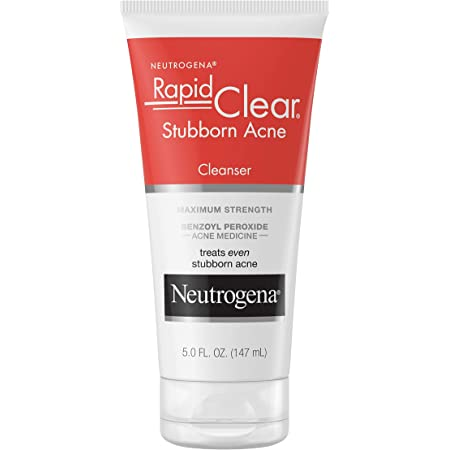 Neutrogena Rapid Clear Stubborn Acne Face Wash with 10 Benzoyl Peroxide Acne Treatment Medicine Daily Facial Cleanser to Reduce Size and Redness of Acne Benzoyl Peroxide Acne Face Wash Ounce, white, 5 Fl Oz