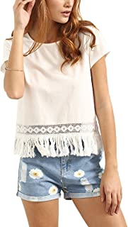 Women's Hollow Fringe Hem Solid Top Blouse