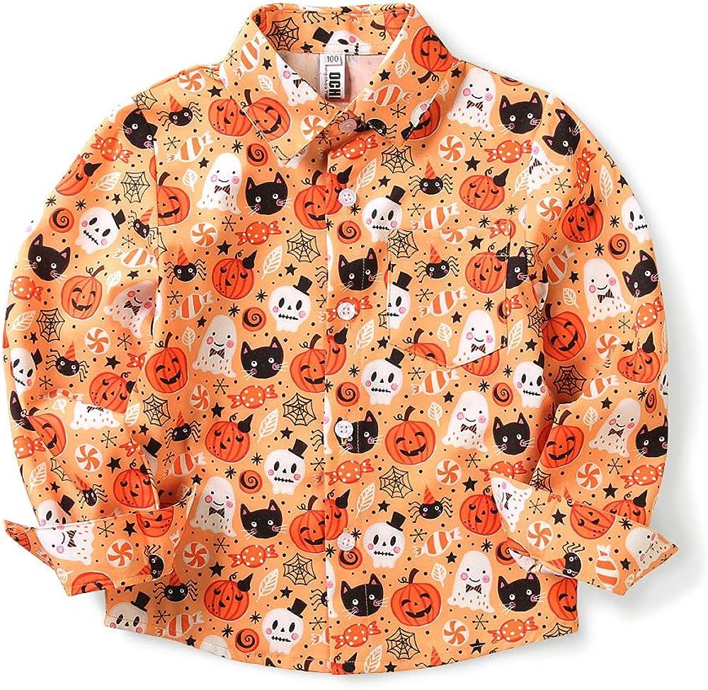 Little & Big Boys' Long Sleeve Button Down Pumpkin Christmas Print Hawaiian Shirt