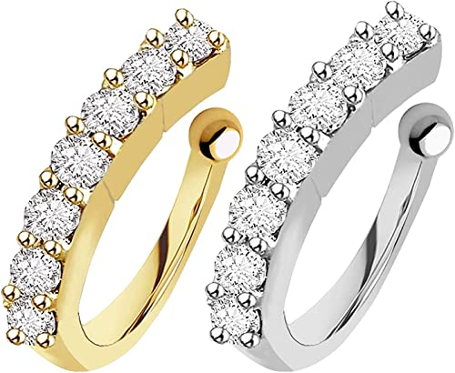 Vama Fashions Clip on Pressing type without Piercing Nose ring pin Stud for Women & Girls (Combo 2pcs Gold & Silver)