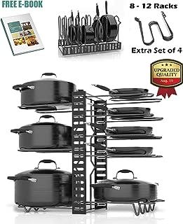 SKATCO Pots and Pans Organizer – Metal Pan Organizer Rack – Pantry & Kitchen Cabinet Organizer – Heavy Duty Lids, Dishes, Pot and Pan Organizer – Horizontal & Vertical Pot Rack with 3 Use Methods