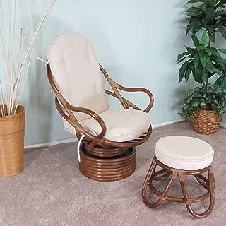 urbandesignfurnishings.com Venice Rattan Swivel Rocker Chair & Foot Stool Assembled in The USA