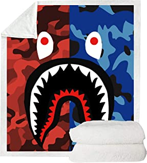 VIMMUCIR 3D Bape Shark Blanket for Beds Hiking Picnic Thick Quilt Fashionable Bedspread Fleece Throw Blanket