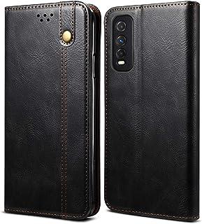 Vivo Y70Sの場合、プレミアムPUレザーウォレットケース、耐衝撃性フォリオフリップマグネットクロージャー電話ケースカバー、カードホルダースロット#20210120(Color:黒)