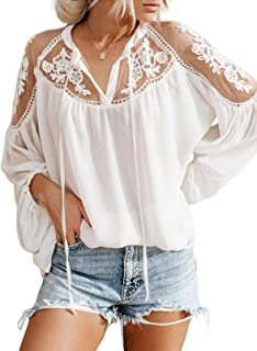 Sponsored Ad - Biucly Womens Casual Solid V Neck Lace Crochet Button Down Bell Sleeve Shirts Tops Loose Blouses