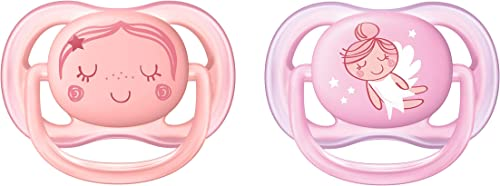Philips Avent Ultra Air Pacifier for Girl, 0-6 Months, Pink Fashion Decos, 2 Pack, SCF345/20
