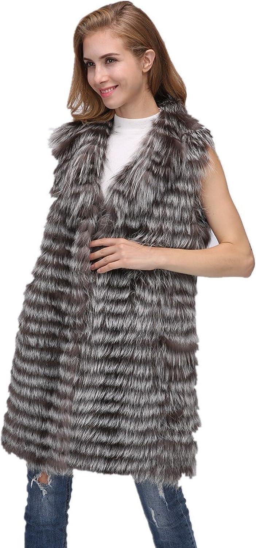 LVCOMEFF Lady Silver Fox Fur Long Gilet with Collar 1708156
