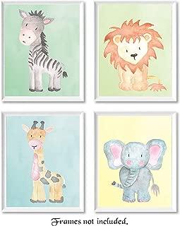 Baby Lion, Elephant, Giraffe, Zebra Poster Prints, Set of 4 (8x10) Unframed Photos, Wall Art Decor Under 20 for Home, Office, Shop, Studio, Nursery, Student, Teacher, Earth & Safari Animals Fan