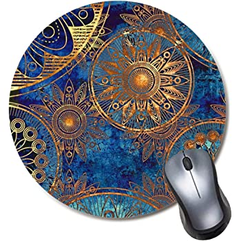Round Gaming Mouse Pad Flower Doodle Pattern Mousepad for Computer,Funny Gift Non-Slip Mouse Mat